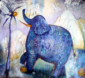 Blue Elephant, painting by Sibyl MacKenzie
