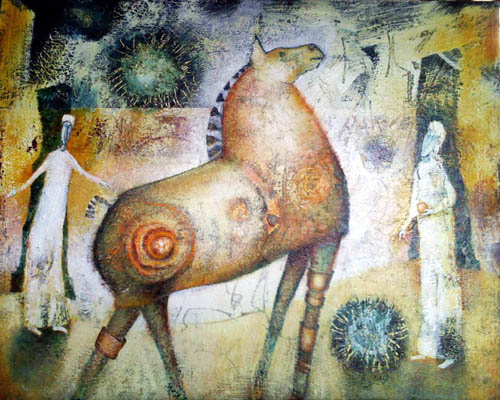 Horse Games, painting by Sibyl MacKenzie