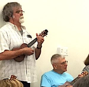 Jim Morris leads the newly-formed Hampshire County Arts Council Ukulele Club.