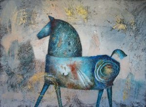 Blue Horse, painting by Sibyl MacKenzie
