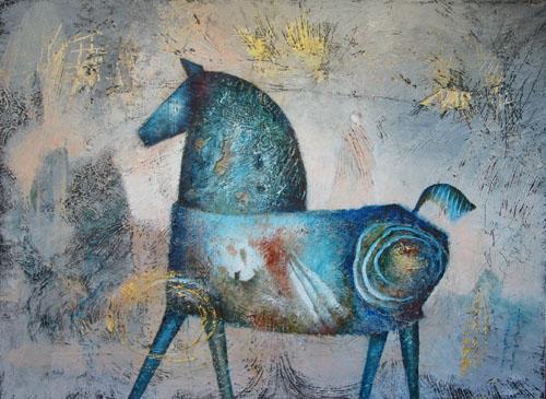 Blue Horse, painting by Sibyl MacKenzie