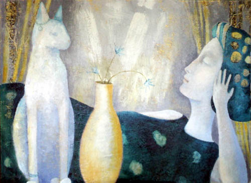 Blue Lady and Cat, painting by Sibyl MacKenzie