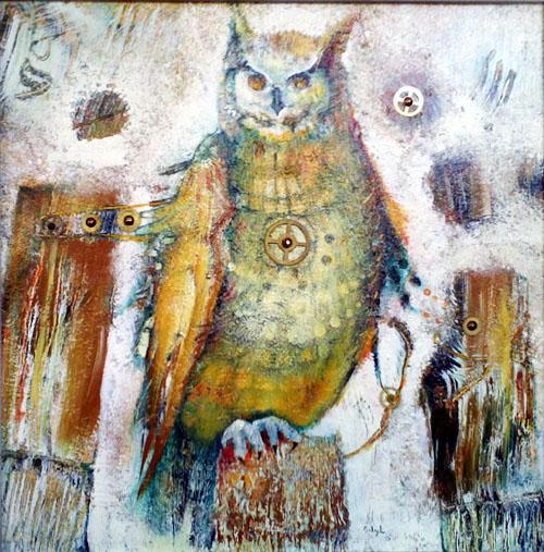 Clockwork Owl, painting by Sibyl MacKenzie