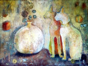 Copper Cats, painting by Sibyl MacKenzie