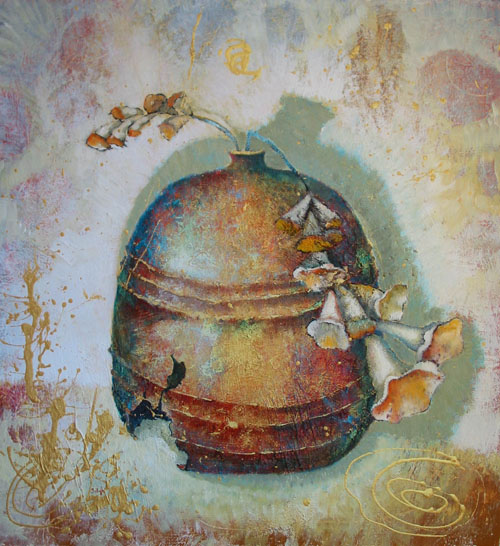 Cracked Vase with Foxglove, painting by Sibyl MacKenzie