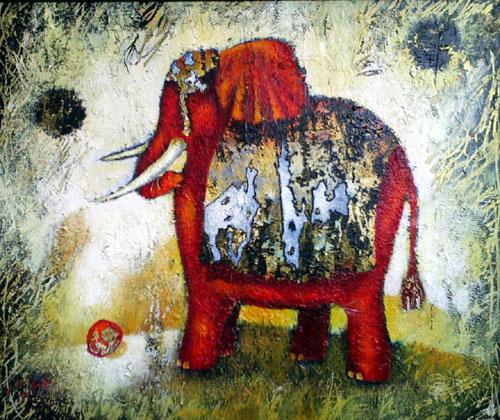 Elephant Games, painting by Sibyl MacKenzie
