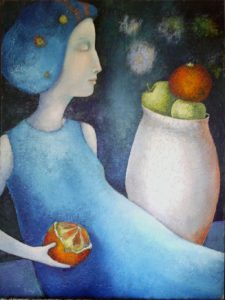 Lady in Blue with Orange, painting by Sibyl MacKenzie