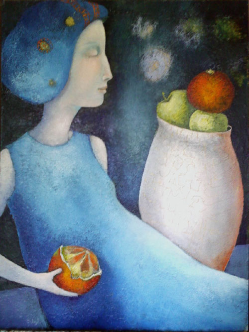 Lady in Blue with Orange, painting by Sibyl MacKenzie