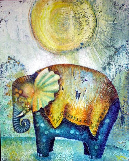 Little Blue Elephant, painting by Sibyl MacKenzie