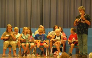 Performing ukuleles for open house