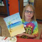 Look at my watercolor beach scene!